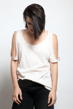 Round Neck Open Shoulders Tee Light Beige