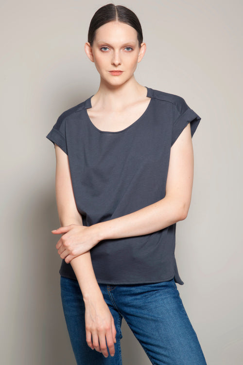 Round Neck Fold Sleeves Tee Anthracite