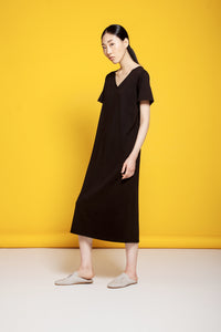 Basic V Neck Tee Dress Black