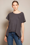 Round Neck Asymmetric Tee Anthracite
