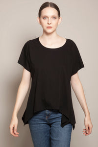 Round Neck Asymmetric Tee Black