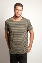 Fold Sleeves Tee Khaki Stripe