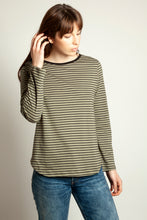 Basic Long Sleeve Tee Khaki Stripe