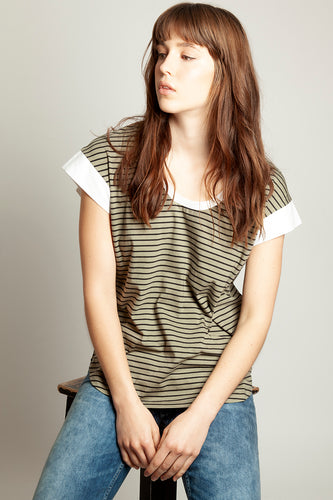 Color Block Tee Khaki Stripe