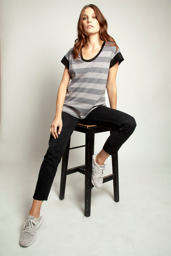 Color Block Tee Grey Stripe