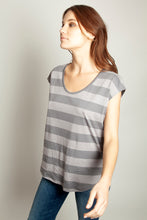Basic Round Neck Tee Grey Stripe