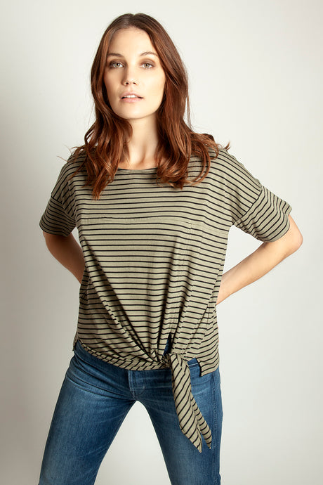 Side Tie Colour Block Tee Khaki Stripe