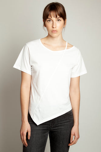 Asymmetric Cut-Out Tee White