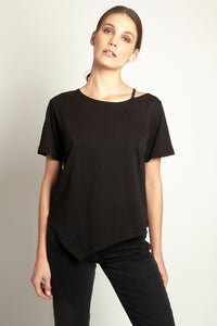 Asymmetric Cut-Out Tee Black