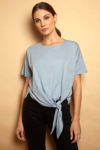 Side Tie Colour Block Tee Baby Blue