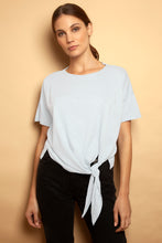 Side Tie Colour Block Tee White