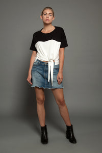 Side Tie Colour Block Tee