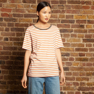 Slim Relaxed Tee Tangerine Stripe