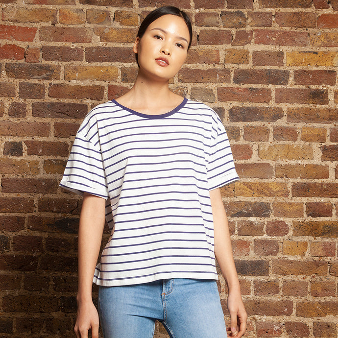 Short Boyfriend Tee Navy Stripe
