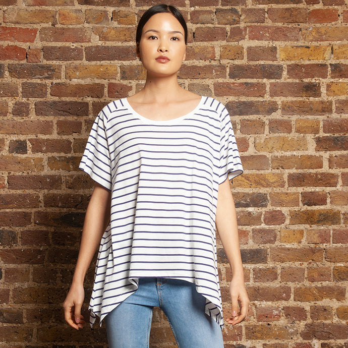 Round Neck Asymmetric Tee Navy Stripe