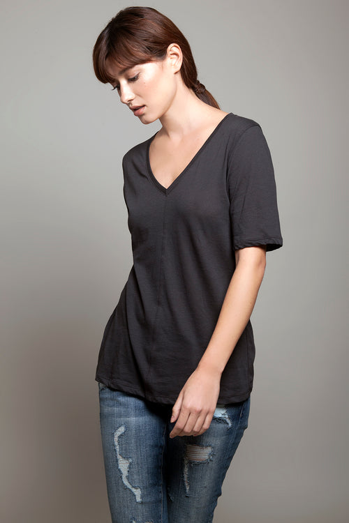 V Neck Relaxed Tee Charcoal