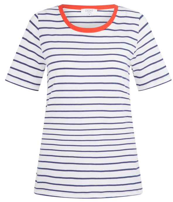 Slim Relaxed Tee Navy Stripes