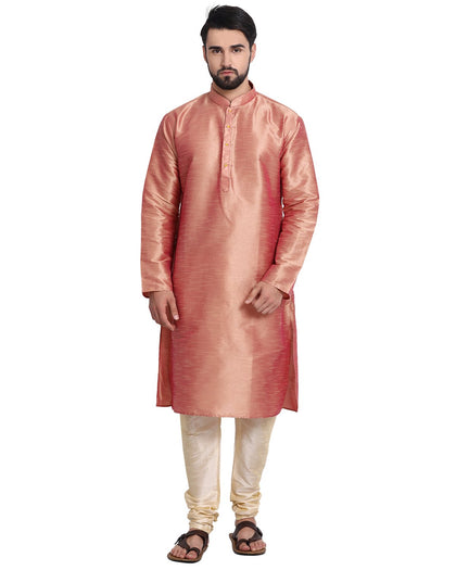 Men's Long Kurta Pyjama Made of Dupoin Silk and cotton fabric available in different Colors