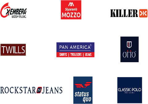 Our Brand Family includes Otto, Oxemberg, Twills, Killer Jeans, Rockstar Jeans, Siyaram's Mozzo, Pan America, Status Quo, Classic Polo.
