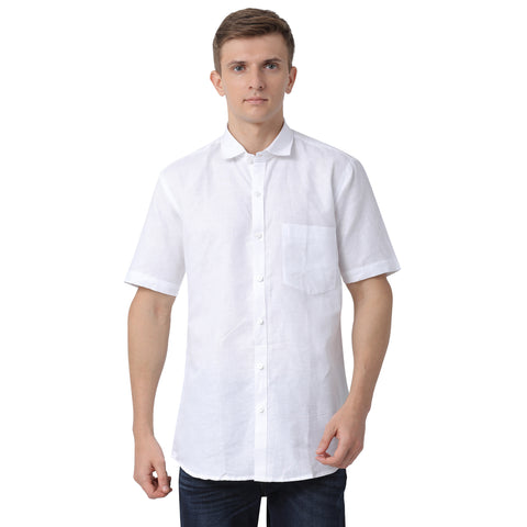 M 27 Zoetic white lenin shirt half sleeves regular fit