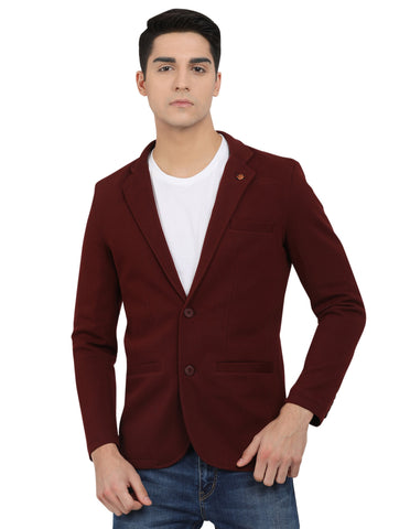 M 27 Men's Slim Fit Casual Blazer Maroon Color