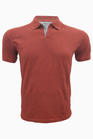 M 27 Polo Neck T-Shirts Half Sleeves Texas Orange Color