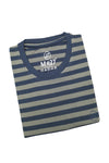 M 27 Men's Cotton Stripes T-Shirt Half Sleeves Olive Colour