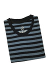 M 27 Men's Cotton Stripes T-Shirt Half Sleeves Blue Colour