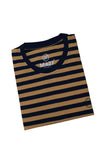 M 27 Men's Cotton Stripes T-Shirt Half Sleeves Mustard Colour