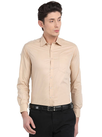 Pan america men's formal cotton shirt regular fit Wheat color