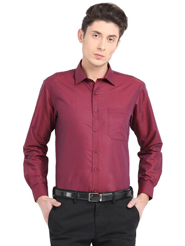 Pan America Men's formal shirt regular fit maroon color office wear