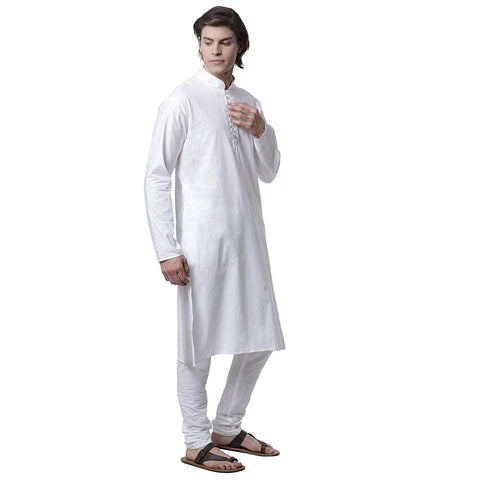M 27 Cotton Plain Kurta Pyjama with Crystal Button