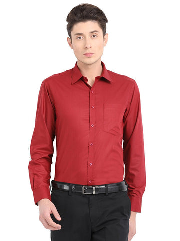 Pan America Men's formal cotton shirt red color regular fit