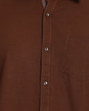 M 27 Casual Shirts Jute Cloth Brown Color
