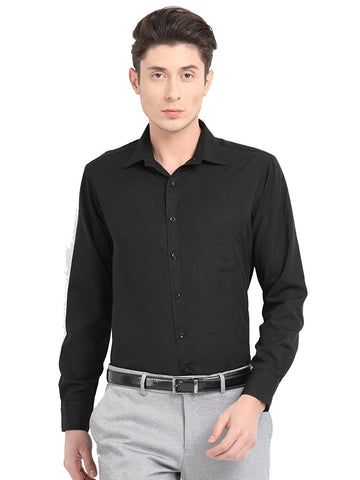 Pan America Men's formal slim fit black shirt office wear
