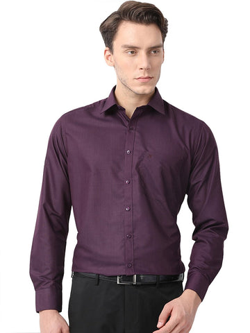 Pan America Men's formal cotton shirt regular fit Wine color office wear