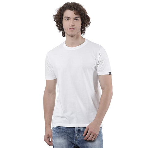 M 27 Men's Basic Cotton Plain T-Shirt White round neck Half sleeves