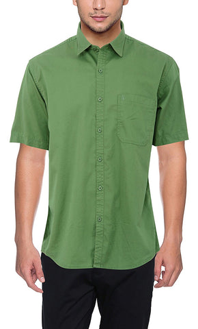 Pan America Mens Casual cotton Shirt half sleeves Green