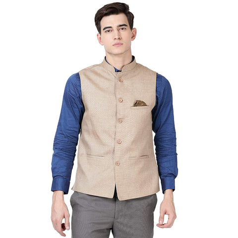 Men's Nehru Jacket Cotton Blended Jude Fabric Straight Placket Beige color