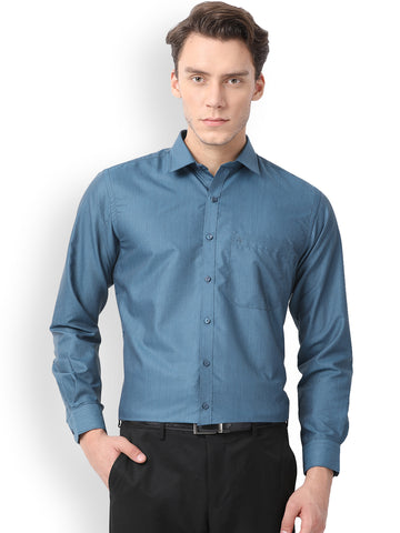 Pan america Men's Formal Shirt Peacock Blue Color