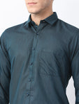 Pan america Men's Formal Cotton Shirt Prussian Blue Color