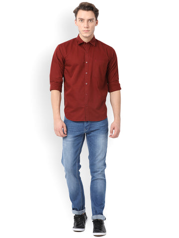 Pan America Men's Cotton Casual Shirt Maroon Color
