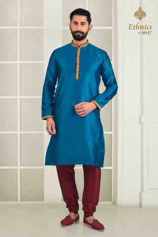 Ethnics by M 27 Printex Kurta Set Sea Blue Color