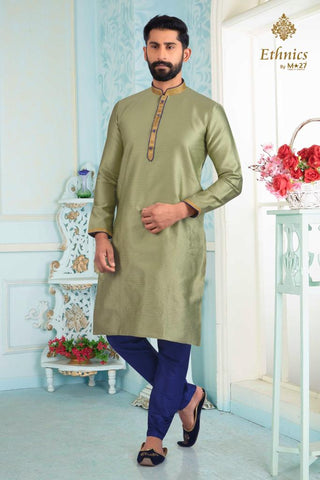 Ethnics by M 27 Printex Kurta Set Lemon Green Color