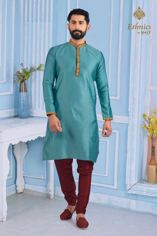 Ethnics by M 27 Printex Kurta Set Jade Green Color