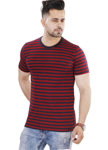 M 27 Men's Cotton Stripes T-Shirt Half Sleeves Maroon/Black Colour
