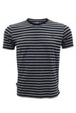 M 27 Men's Cotton Stripes T-Shirt Half Sleeves Gray Colour