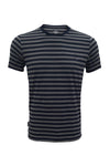 M 27 Men's Cotton Stripes T-Shirt Half Sleeves 5% Gray Colour