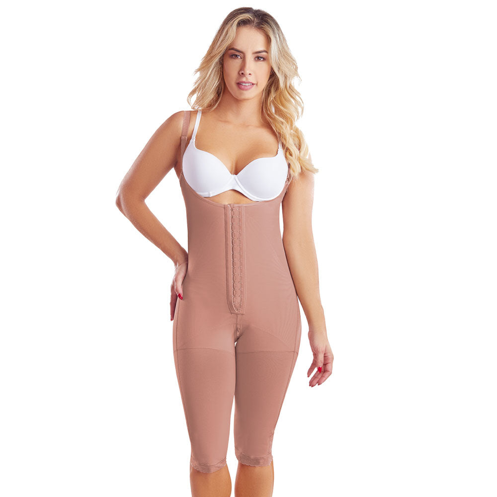 Fajas Colombianas body shaper 068 Girdle With 2 Line Hooks Closure, Semi Covered Back, Knee Lenght, Butt Lifting Effect