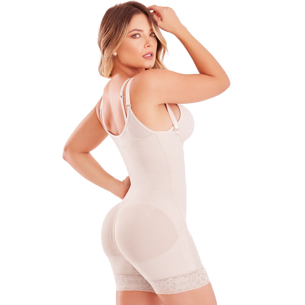 Fajas Colombianas body shaper 055 girdle with Front Zipper, covered back, free breasts, Butt Lifting